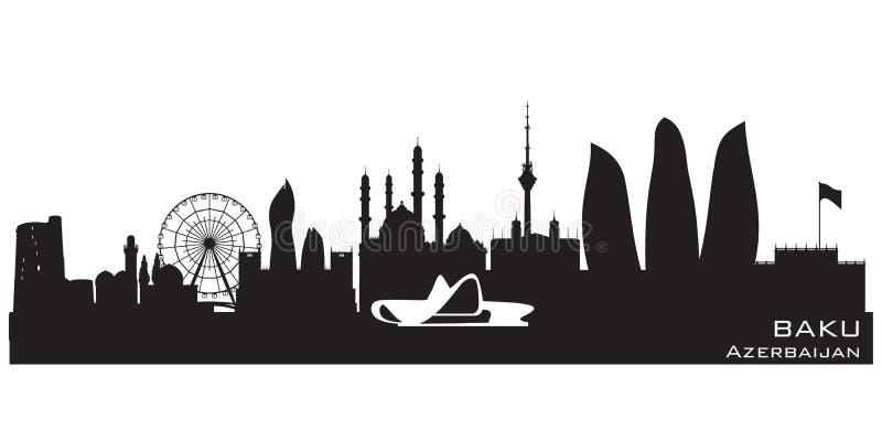 Baku Azerbaijan-het vectorsilhouet van de stadshorizon royalty-vrije illustratie