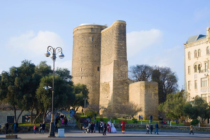 Maiden Tower on a sunny January day, Baku stock images