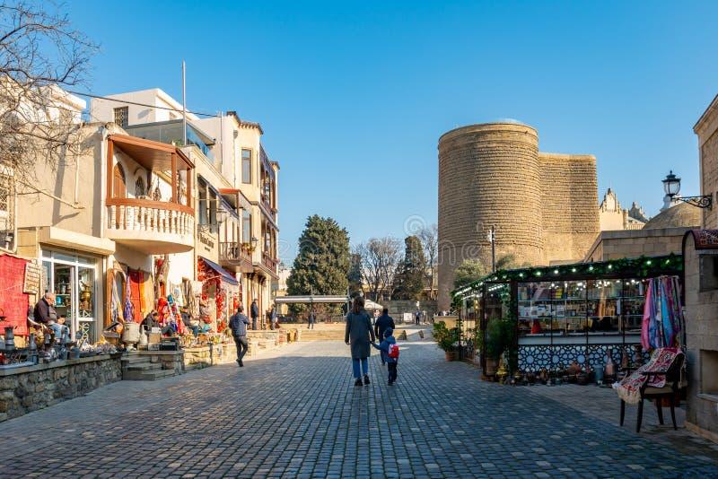 Baku, Azerbaijan 27 January 2020 - The Maiden Tower in Baku royalty free stock photos