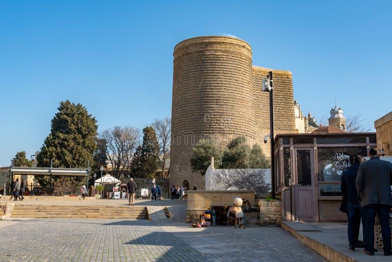 Baku, Azerbaijan 27 January 2020 - The Maiden Tower in Baku stock photos