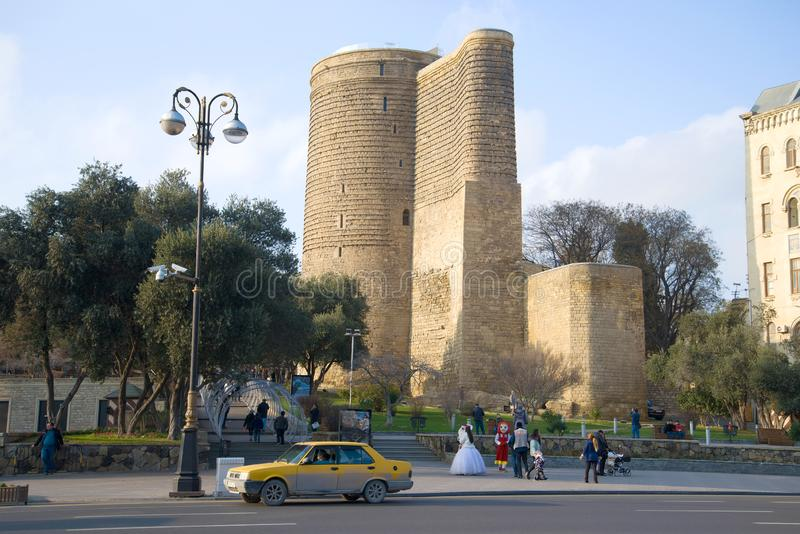 View of the Maiden Tower on a January day. Baku royalty free stock photos