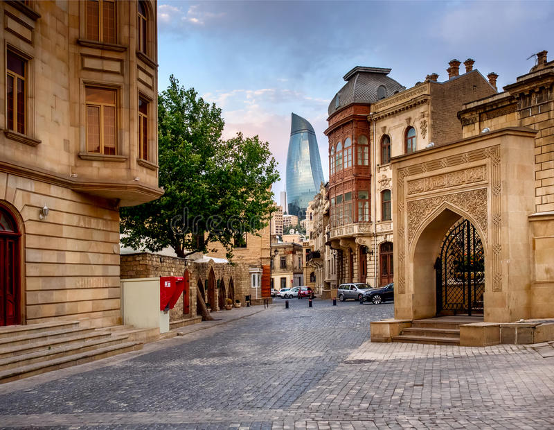 BAKU, AZERBAIJAN - JULY 24:Icheri Sheher (Old Town) of Baku, Azerbaijan, on July 24, 2014, with great modern stock photo