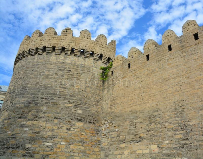 The Maiden Tower also known as Giz Galasi,. BAKU AZERBAIJAN 09 07 19: The Maiden Tower also known as Giz Galasi, located in the Old City in Baku, Azerbaijan royalty free stock images