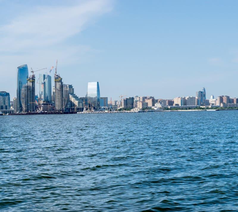 Baku, Azerbaijan - May 22, 2019: Baku city from The Caspian Sea royalty free stock image