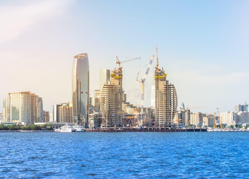 Baku, Azerbaijan - May 22, 2019: Baku city from The Caspian Sea royalty free stock photos