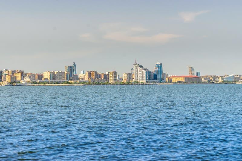 Baku, Azerbaijan - May 22, 2019: Azerbaijan, Baku City panorama skyline and caspian sea. panoramic shot stock photo