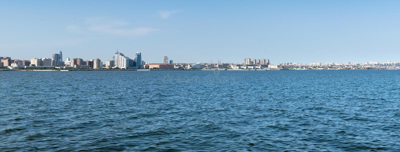 Baku, Azerbaijan - May 22, 2019: Azerbaijan, Baku City panorama skyline and caspian sea. panoramic shot royalty free stock images