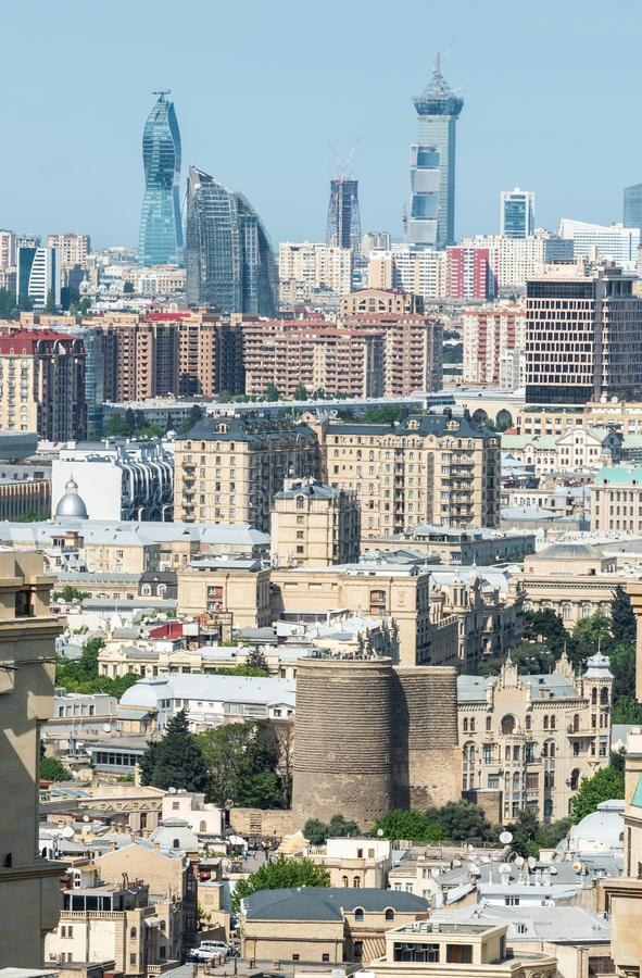 Baku, Azerbaijan - May 11, 2019. View over old town quarter and Maiden Tower in Baku royalty free stock images