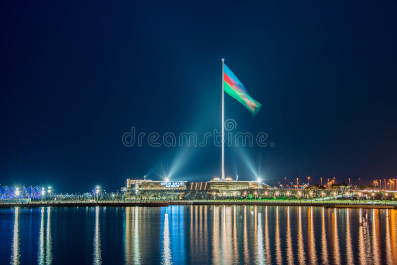 Baku Azerbaijan. National Flag square in Baku Azerbaijan royalty free stock photography