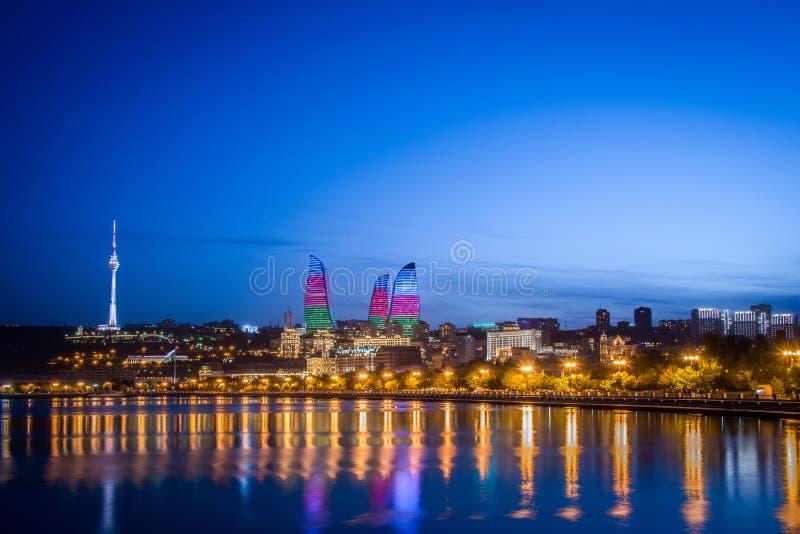 Baku Azerbaijan. Night photo of Baku Azerbaijan stock photo