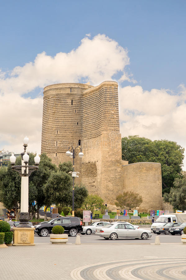 BAKU, AZERBAIJAN - OCT 17, 2014: The Maiden Tower is Azerbaijan's unique architectural monument. The tower located in the south-western part of the Icheri stock image