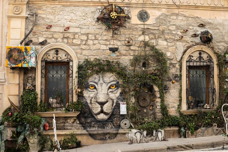 Baku azerbaijan old city. street art wall plant tree decoration. tiger face picture royalty free stock photography