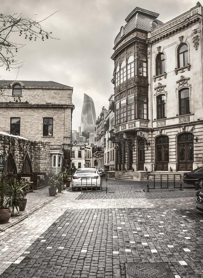 Baku Azerbaijan Old House Street historiska marknadsbyggnader royaltyfri fotografi