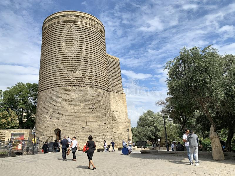 Baku, Azerbaijan, September, 08, 2019. People walking near Maiden Tower in Old city, Icheri Sheher is the historical core of Baku. stock images