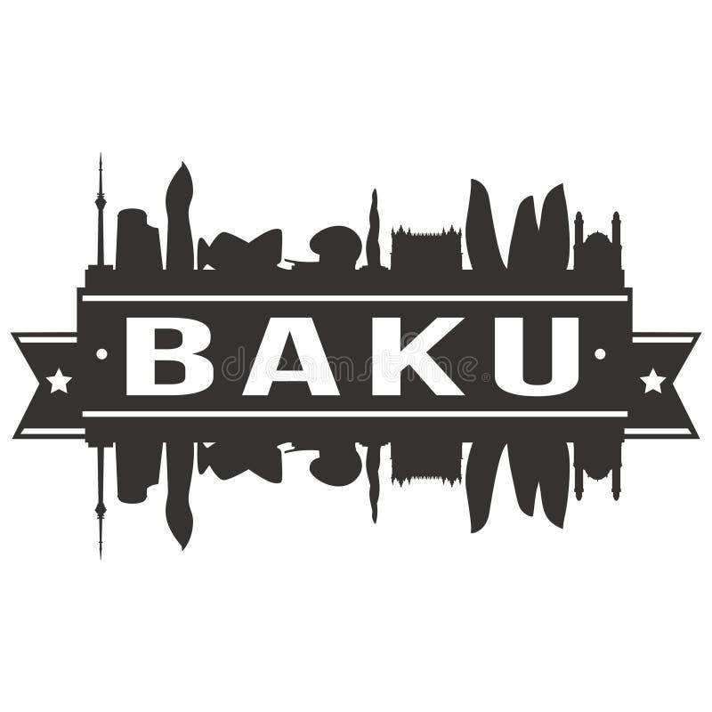 Baku Azerbaijan Round Icon Vector Art Flat Shadow Design Skyline City Silhouette Template Logo stock illustration