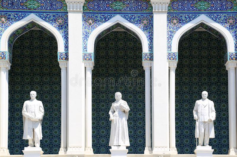 Sculptural images of Azerbaijani writers on the facade of the Museum of Azerbaijani Literature stock image
