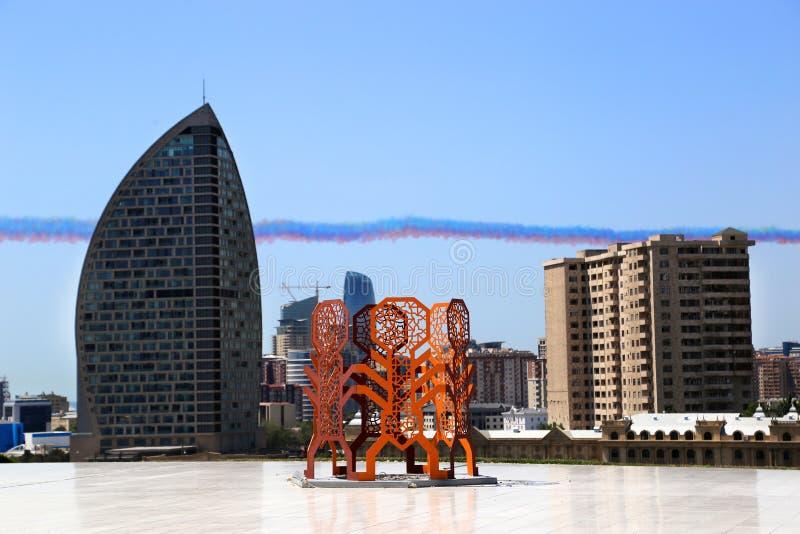 Sculptures  near the building of the Heydar Aliyev Cultural Center stock photos