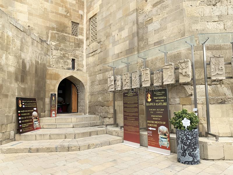 Baku, Azerbaijan, September, 09, 2019. Entrance to the exhibition of medieval instruments of torture in the Palace of Shirvanshahs royalty free stock photos