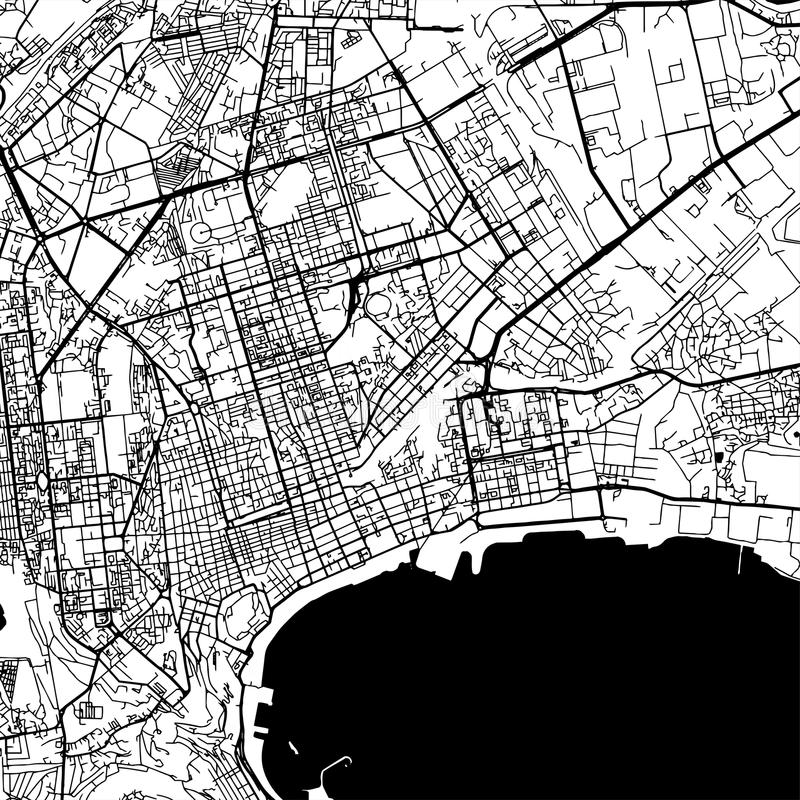 Baku Azerbaijan Vector Map. Monochrome Artprint, Vector Outline Version for Infographic Background, Black Streets and Waterways royalty free illustration