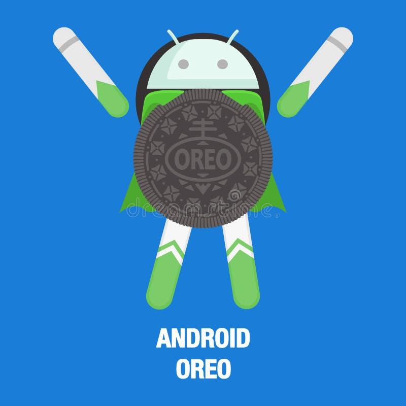 Baku Azerbajdzjan - Augusti 31, 2017 Android 8 0 Oreo system stock illustrationer