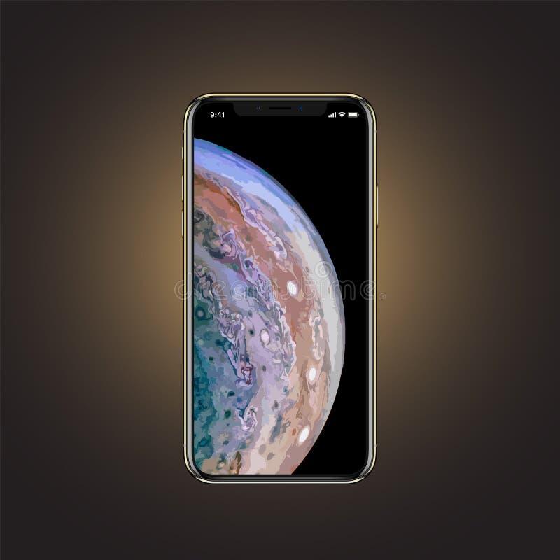 Baku Azerbajdzjan - September 12, 2018: iPhone X S som isoleras på guld- bakgrund royaltyfri illustrationer