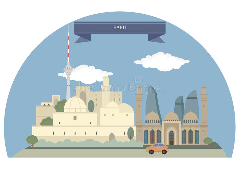 Baku, Azerbeidzjan royalty-vrije illustratie
