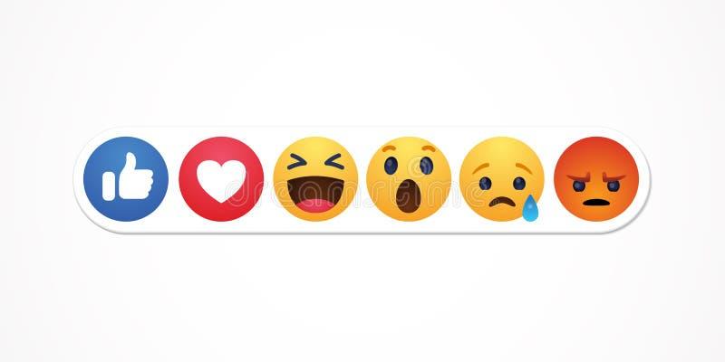 Baku, Azerbeidzjan - April 23, 2019: Facebook nieuw als reactiesknopen vector illustratie
