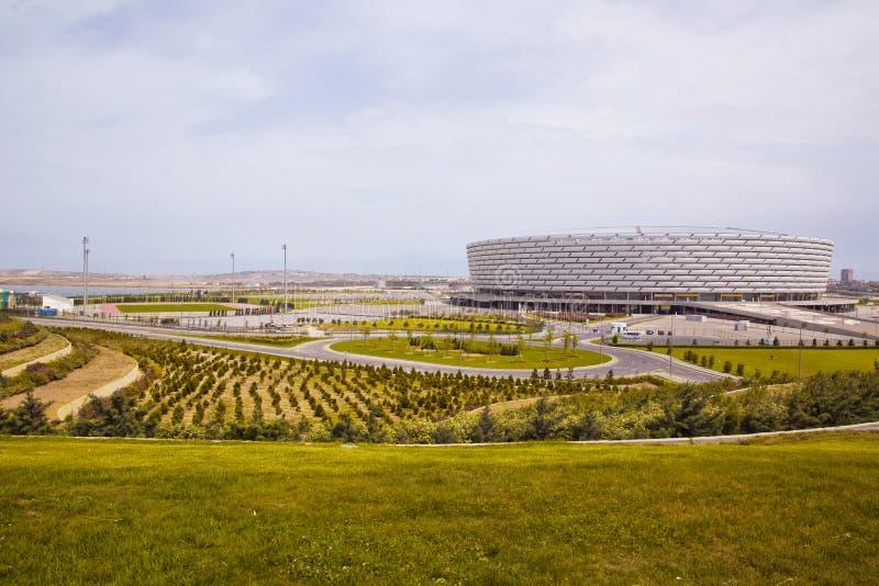 Baku, Azerbeidzjan: De gelijkedag in Baku Olympic Stadium Er is groen rond Baku Olympic Stadium stock foto's