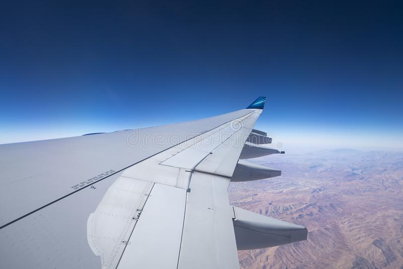 Baku, Azerbeidzjan - DECEMBER 31.2017: Mening van in vleugelvliegtuig A royalty-vrije stock fotografie