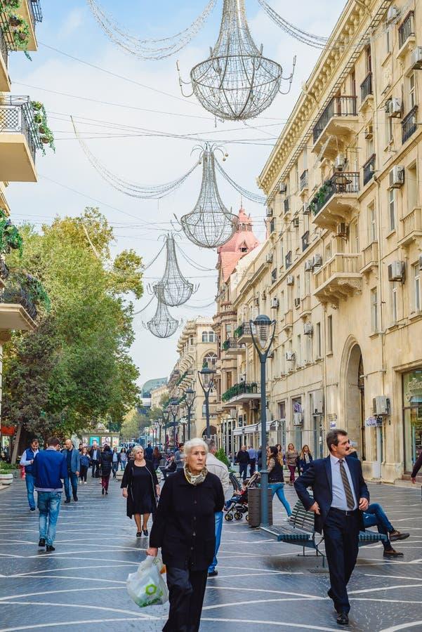 Baku, Azerbeidzjan - Oktober 23, 2018: Nizamistraat stock afbeelding