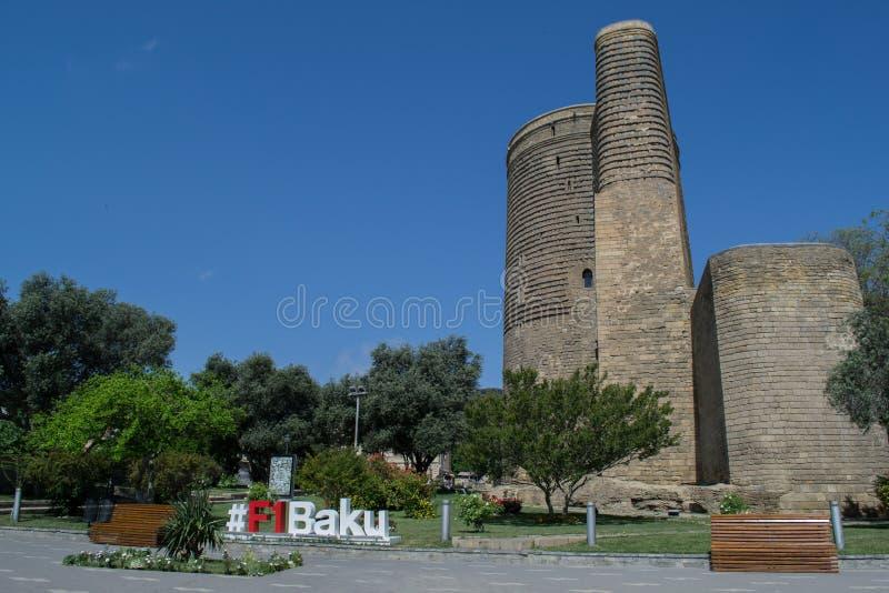 15 2017 Baku, Azerbejdżan F1 dziewczyny wierza także znać jako Giz Galasi, lokalizować w Starym mieście w Baku, Azerbejdżan obraz royalty free