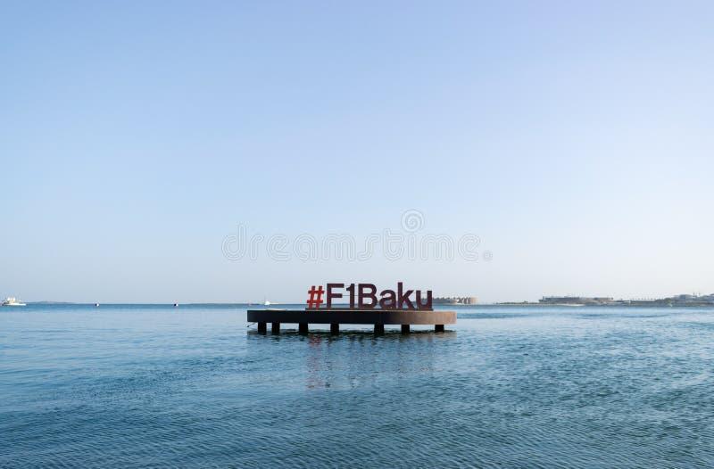 Baku Azerbejdżan, Wrzesień, - 26, 2018; Baku w morzu kaspijskim, F1 symbol, formuły 1 prix Baku europejczyka uroczyste gry zdjęcia stock