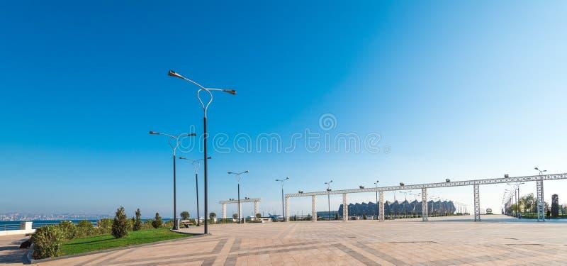 Baku bay embankment. Baku city, Azerbaijan. National seaside park stock photography