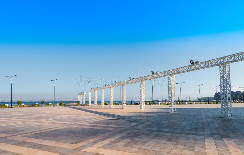 Baku bay embankment. Baku city, Azerbaijan. National seaside park royalty free stock photos