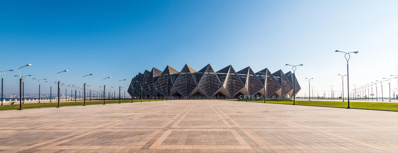 Baku bay embankment, Crystal hall building stock photography