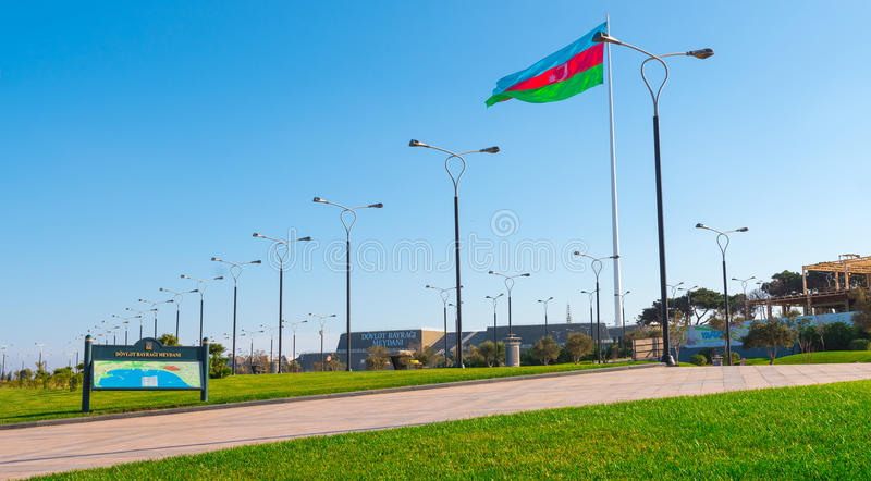 Baku bay embankment, National flag place. Huge flag of Azerbaijan Republic stock image