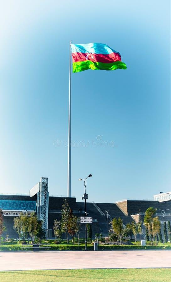 Baku bay embankment, National flag place. Toned photo. Baku city, Azerbaijan. National seaside park stock images
