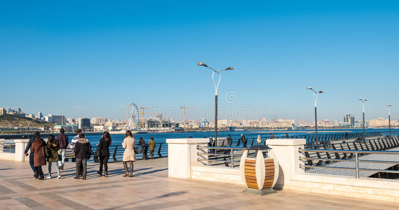 Baku bay embankment. People walking stock photography