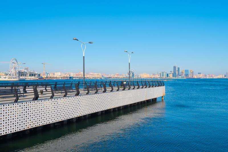 Baku bay embankment. Pier on sea. Baku city, Azerbaijan. National seaside park stock photos