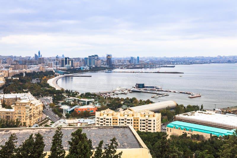 Baku and Caspian Sea royalty free stock photography
