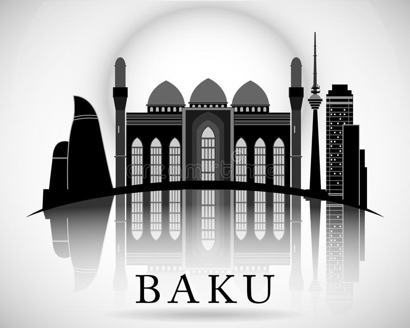Baku City Skyline Design moderno azerbaijan libre illustration