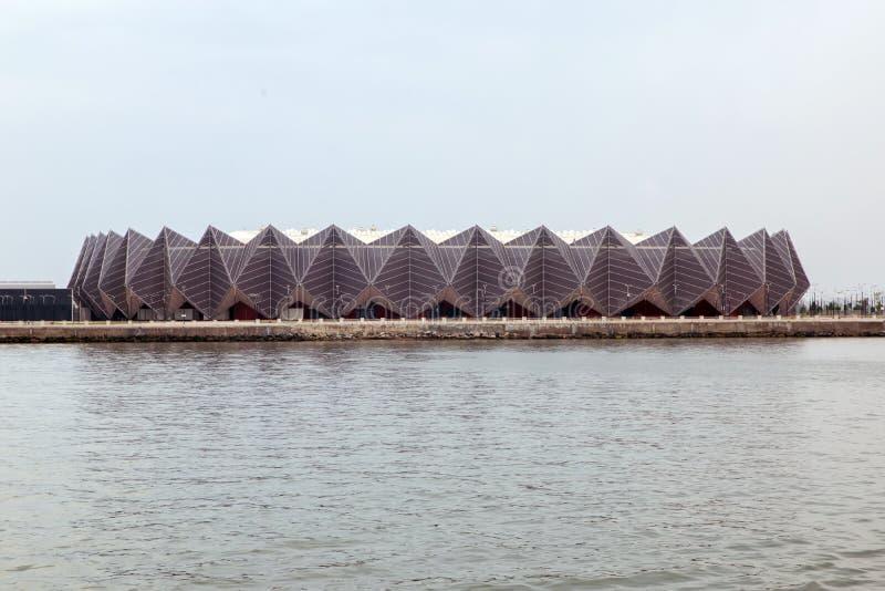 Baku Crystal Hall Baku, Azerbaijan Vista hacia el aspecto de Crystal The del agujero caspio en Baku COM de los deportes y del con fotografía de archivo libre de regalías