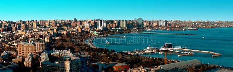 Baku en Kaspisch Overzees Panorama royalty-vrije stock foto