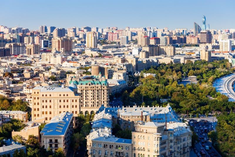 Baku luchtpanorama royalty-vrije stock foto
