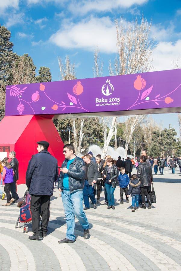 Baku - MAART 21, 2015: 2015 Europese Spelenaffiches royalty-vrije stock afbeeldingen