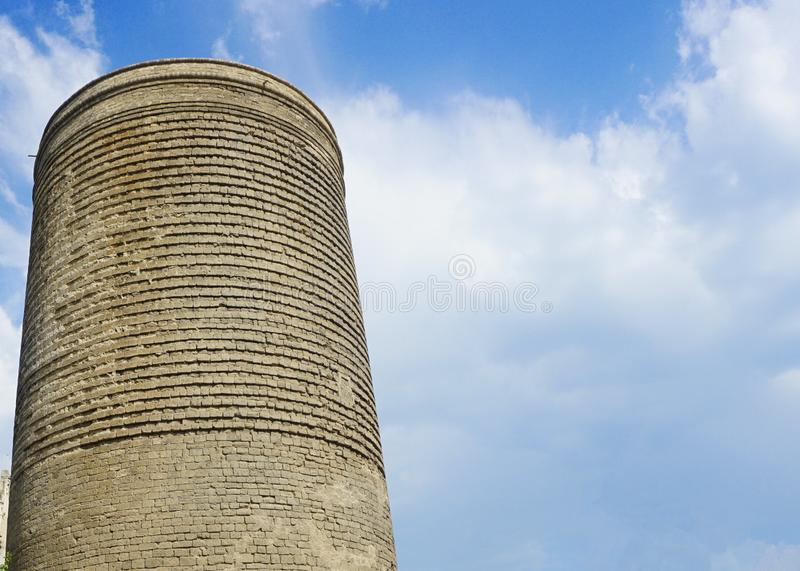 Baku Maiden Tower Front View. With Calming Cloudy Blue Sky royalty free stock images