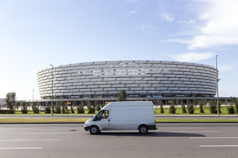 Baku National Stadium in Baku, Azerbeidzjan Baku zal eerst ontvangen stock foto's