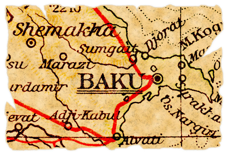Download Baku old map stock image. Image of torn, isolated, vintage - 16772347