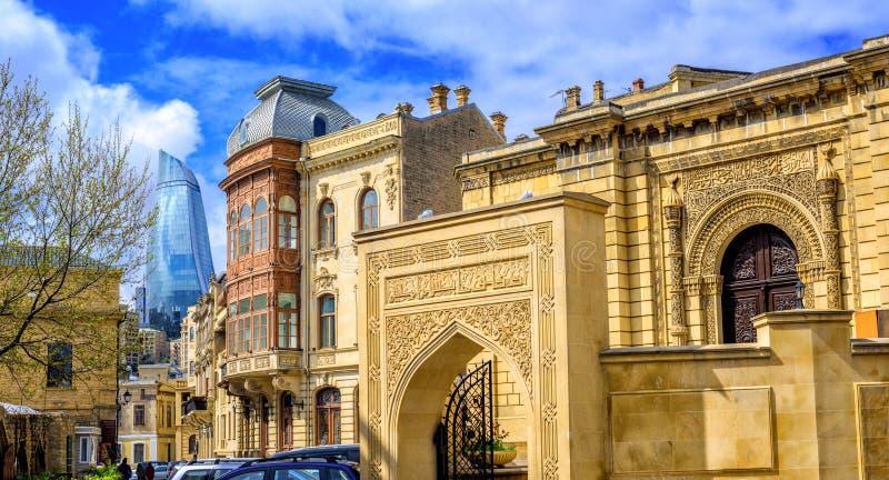 Baku Old Town Azerbajdzjan royaltyfria foton