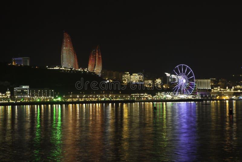 Baku panorama with highland park. Beautiful Baku panoramic view from highland park in Azerbaijan royalty free stock image